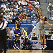 HARTFORD, CONNECTICUT- JANUARY 4: Khadidja Toure #2 of the East Carolina Lady Pirates shoots while defended by Gabby Williams #15 of the Connecticut Huskies during the UConn Huskies Vs East Carolina Pirates, NCAA Women's Basketball game on January 4th, 2017 at the XL Center, Hartford, Connecticut. (Photo by Tim Clayton/Corbis via Getty Images)