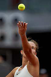 May 9, 2018 - Madrid, Madrid, Spain - Daria Kasatkina of Russia serves in her match against Garbine Muguruza of Spain during day five of the Mutua Madrid Open tennis tournament at the Caja Magica on May 9, 2018 in Madrid, Spa  (Credit Image: © David Aliaga/NurPhoto via ZUMA Press)