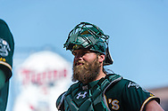 Derek Norris #36 of the Oakland Athletics after a game against the Minnesota Twins on April 9, 2014 at Target Field in Minneapolis, Minnesota.  The Athletics defeated the Twins 7 to 4.  Photo by Ben Krause