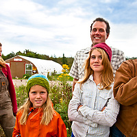 Karen Campbell, Gavin Dandy and their daughters Beatrice, Rosemary and Tessa, at Everdale Farm.
