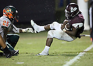 Sherman's Brayshon Savage falls across the goal line to score after he was hit by Cameron Credle during a game between Sherman High and Naaman Forest on Friday, Sept. 16, 2016 at Bearcat Stadium in Sherman. It was Sherman's homecoming game.  (Kevin Bartram/www.buzzzphotos.com)