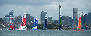 The SailGP Fleet of six F50s line up for a start on the final day of practice. Event 1 Season 1 SailGP event in Sydney Harbour, Sydney, Australia. 14 February 2019. Photo: Chris Cameron for SailGP. Handout image supplied by SailGP