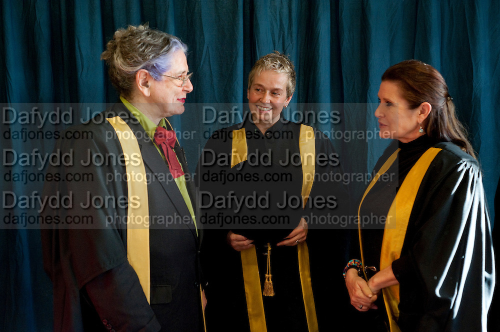 BETTE BOURNE; HELEN LANNAGHAN; CARRIE FISHER;  . Central School of Speech and Drama presents Honory Fellowships to Carrie Fisher, Bette Bourne, Joseph Selig and Helen Lannaghan. Royal Festival Hall. London. 12 December 2011.