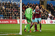 James Collins of West Ham yells at West Ham goalkeeper Adrian as he lets off his frustrations. Barclays Premier league match, Swansea city v West Ham Utd at the Liberty Stadium in Swansea, South Wales  on Sunday 20th December 2015.<br /> pic by  Andrew Orchard, Andrew Orchard sports photography.