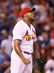 September 26, 2017 - St Louis, MO, USA - St. Louis Cardinals pitcher Juan Nicasio reacts after striking out the Chicago Cubs' Javier Baez to end the game on Tuesday, Sept. 26, 2017, at Busch Stadium in St. Louis. The Cards won, 8-7. (Credit Image: © Chris Lee/TNS via ZUMA Wire)