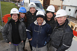 © Licensed to London News Pictures. 12/03/2013.The BBC's DIYSOS team are in Orpington, Kent this week till the (21.03.2013). Nick Knowles and the team of builders  which includes local tradesmen arrived on the (12.03.2013) to help build a family in need a new home..LTR.Mark Millar - Builder.Gabrielle Blackman - Designer.Nick Knowles-Presenter. Billy Byrne - Electrician.Julian Perryman - Builder    .Chris Frediani - Builder..Photo credit : Grant Falvey/LNP