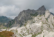Bobotov kuk, the highest peak in Durmitor, seen from Trojni prevoj ('triple pass'), Durmitor national park, Montenegro