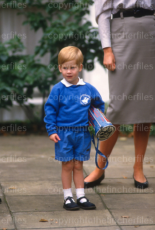 Prince Harry seen outside Mrs Mynor's pre-school on his first day of a new term in Sept 1987. Photograph by Jayne Fincher
