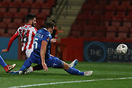 Chris Clements and Dave Winfield during the The FA Cup 1st round replay match between Cheltenham Town and Ebbsfleet at LCI Rail Stadium, Cheltenham, England on 20 November 2018.
