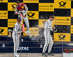 01.08.2015, Red Bull Ring, Spielberg, AUT, DTM Red Bull Ring, Rennen, im Bild 1. Edoardo Mortara (ITA, Audi RS 5 DTM), 2. Pascal Wehrlein (GER, Mercedes-AMG C 63 DTM), 3. Paul Di Resta (GBR, Mercedes-AMG C 63 DTM) // during the DTM Championships 2015 at the Red Bull Ring in Spielberg, Austria, 2015/08/01, EXPA Pictures © 2015, PhotoCredit: EXPA/ Dominik Angerer