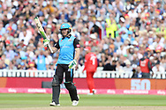 Worcestershire Rapids Ben Cox celebrates his 50 during the Vitality T20 Finals Day semi final 2018 match between Worcestershire Rapids and Lancashire Lightning at Edgbaston, Birmingham, United Kingdom on 15 September 2018.