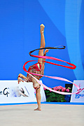 Kaho Minagawa of Japan competes during the Rhythmic Gymnastics Individual ribbon final  of the World Cup at Adriatic Arena on April 3, 2016 in Pesaro, Italy. She was born 20 August 1997 in Chiba Prefecture, Japan..