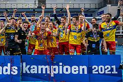 Dynamo celebrate after 3-1 win in the last final league match between Draisma Dynamo vs. Amysoft Lycurgus on April 25, 2021 in Apeldoorn.