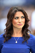 CBS Sports sideline reporter Jenny Dell looks on from the sideline during the New York Giants NFL week 3 regular season football game against the Houston Texans on Sunday, Sept. 21, 2014 in East Rutherford, N.J. The Giants won the game 30-17. ©Paul Anthony Spinelli