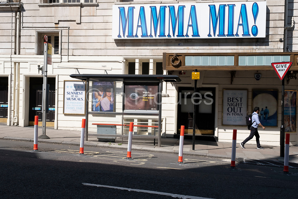 West End theatres ramain closed, with musicals and other theatre shows on hold under coronavirus lockdown on 25th June 2020 in London, England, United Kingdom. Theatreland has taken a big hit as social distancing has not allowed audiences to return and so doors and box offices are shut. As the July deadline approaces and government will relax its lockdown rules further, the West End remains quiet, while some non-essential shops are allowed to open with individual shops setting up social distancing systems.