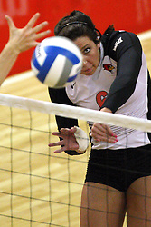 01 September 2012: Brooklyn Hlafka intensely watches the ball go over the net after striking it  during an NCAA womens volleyball match between the Oregon State Beavers and the Illinois State Redbirds at Redbird Arena in Normal IL