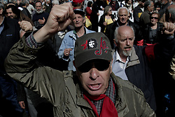 April 4, 2017 - Athens, Attica, Greece - Pensioners shout slogans during a protest rally against  cuts to their  pensions, in central Athens, Greece on Tuesday April 4, 2017  (Credit Image: © Panayotis Tzamaros/NurPhoto via ZUMA Press)