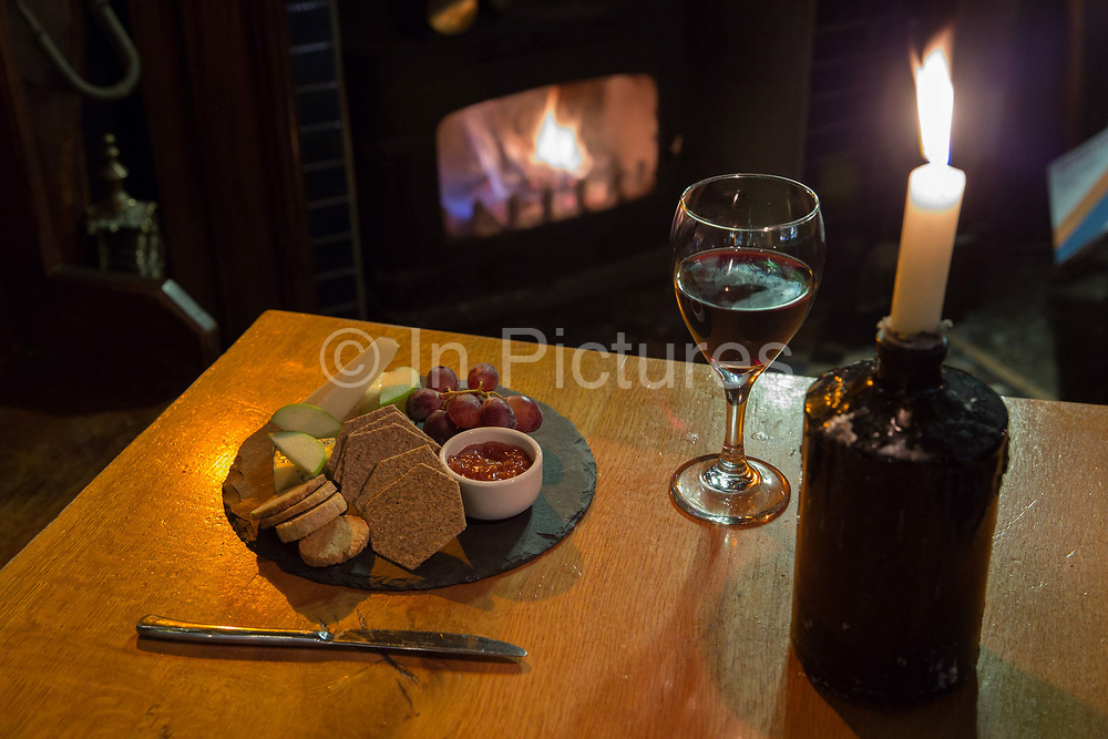Cheese and biscuits and red wine at the Old Bridge Inn on the 6th November 2018 in Aviemore, Scotland in the United Kingdom.