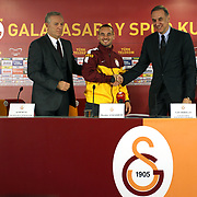 New Signing Wesley Sneijder (C) of Galatasaray with Vice President Ali Durust (L) and CEO Lutfi Aribogan (R) of Galatasaray signing contract in Istanbul Turkey on Tuesday 22 January 2013. Photo by TURKPIX