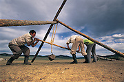 Making leather rope<br /> near Erdenet<br /> Northern Mongolia