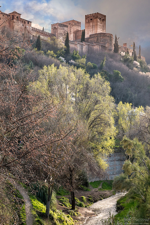 The Moorish tower of the Alhambra castle overlooks the Darro river flowing below.