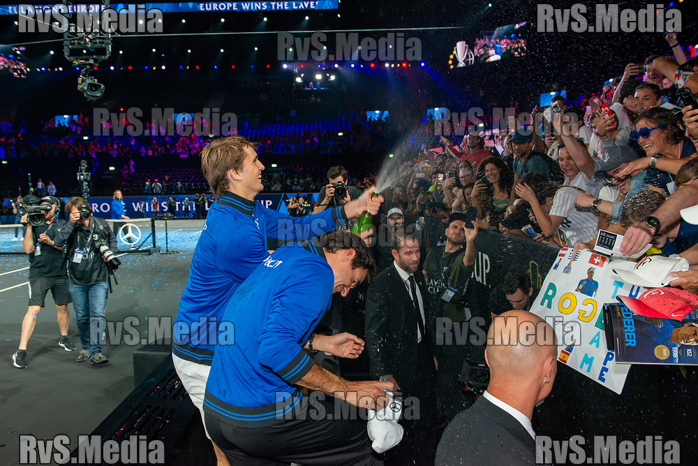 GENEVA, SWITZERLAND - SEPTEMBER 22: Alexander Zverev of Team Europe celebrates with fans during Day 3 of the Laver Cup 2019 at Palexpo on September 20, 2019 in Geneva, Switzerland. The Laver Cup will see six players from the rest of the World competing against their counterparts from Europe. Team World is captained by John McEnroe and Team Europe is captained by Bjorn Borg. The tournament runs from September 20-22. (Photo by Robert Hradil/RvS.Media)