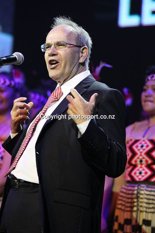 Auckland Mayor Len Brown speaks during New Zealand's major international tourism trade show. TRENZ Welcome Function. Viaduct Events Centre, Auckland, New Zealand. Sunday 21 April 2013. Photo: Fiona Goodall / Photosport.co.nz