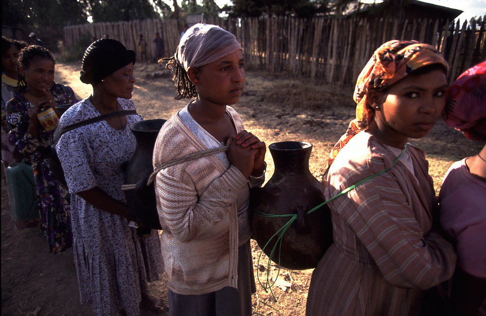 ethiopia<br /> <br /> Women queuing for water in village in Ethiopia<br /> <br /> Pic Steve Morgan