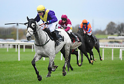 Batcio ridden by Aubrey McMahon win the Sky Sports Racing Launching in 2019 Flat Race during day one of the Down Royal Festival.