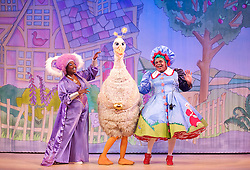 Mother Goose <br /> at the Hackney Empire, London, Great Britain <br /> press photocall<br /> 20th November 2014 <br /> <br /> <br /> <br /> Sharon D Clarke as Charity <br /> <br /> <br /> Alix Ross as Priscilla (the Goose) <br /> Clive Rowe as Mother Goose<br /> <br /> Photograph by Elliott Franks <br /> Image licensed to Elliott Franks Photography Services