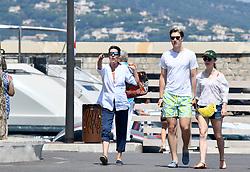 Princess Caroline of Hanover, her daughter Princess Alexandra of Hanover and her boyfriend Ben-Sylvester Strautmann strolling in Saint-Tropez, France on July 15, 2018. NO CREDIT a3