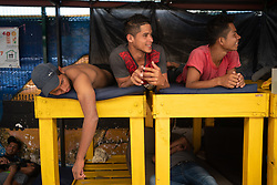Migrants on bunks at a migrant refuge in Apizaco, Mexico. Most arrive at the refuge after three or four weeks travel from Honduras, much of it on foot and on the dangerous freight rail network known as La Bestia. Most arrive exhausted, many haven't eaten for days, many have suffered violence along the way, often at the hands of Mexican Police and criminal gangs.