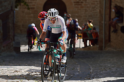 Elise Chabbey (SUI) battles up the cobbled climb at the 2020 Clasica Feminas De Navarra, a 122.9 km road race starting and finishing in Pamplona, Spain on July 24, 2020. Photo by Sean Robinson/velofocus.com