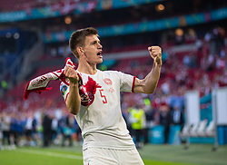 AMSTERDAM, THE NETHERLANDS - Saturday, June 26, 2021: Denmark's Joakim Mæhle celebrates after the UEFA Euro 2020 Round of 16 match between Wales and Denmark at the  Amsterdam Arena. Denmark won 4-0. (Photo by David Rawcliffe/Propaganda)