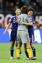 17-07-2011 VOETBAL: FIFA WOMENS WORLDCUP 2011 FINAL JAPAN - USA: FRANKFURT<br /> Jubel  nach dem 2:2 durch Homare Sawa (Japan). es feiern Aya Sameshima (Japan), Ayumi Kaihori (Japan) und Yukari Kinga (Japan)<br /> ***NETHERLANDS ONLY***<br /> ©2011-FRH- NPH/Mueller