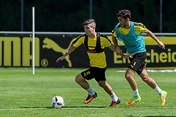 Bad Ragaz, Schweiz 04.08.2016, Trainingslager BV Borussia Dortmund, BVB,  Christian Pulisic (U-19 BVB) und Nuri Sahin (BVB)  / 040816<br /> <br /> ***Training camp of Borussia Dortmund in Bad Ragaz, Switzerland, August 4th, 2016***