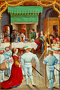 February: Torch dance at a feast. Lord and lady dine at table in front of fire in the Great Hall, watching the dancers. Jester and musicians on right. From an early 16th century Flemish calendar.