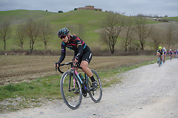 Alexis Ryan (CANYON//SRAM Racing) on the longest stretch of chalk roads at Strade Bianche - Elite Women. A 127 km road race on March 4th 2017, starting and finishing in Siena, Italy. (Photo by Sean Robinson/Velofocus)