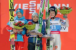 30.01.2016, Normal Hill Indiviual, Oberstdorf, GER, FIS Weltcup Ski Sprung Damen, Siegerehrung, im Bild v. l.: Daniela Iraschko Stolz (AUT, 2. Platz), Siegerin Sara Takanashi (JPN) und, Ema Klinec (SLO, 3. Platz) // 2nd placed Daniela Iraschko Stolz of Austria, Winner Sara Takanashi of Japan and Ema Klinec of Slovenia celebrates during Award ceremony of FIS Ski Jumping World Cup Ladis at the Schattenbergschanze, Oberstdorf, Germany on 2016/01/30. EXPA Pictures © 2016, PhotoCredit: EXPA/ Peter Rinderer