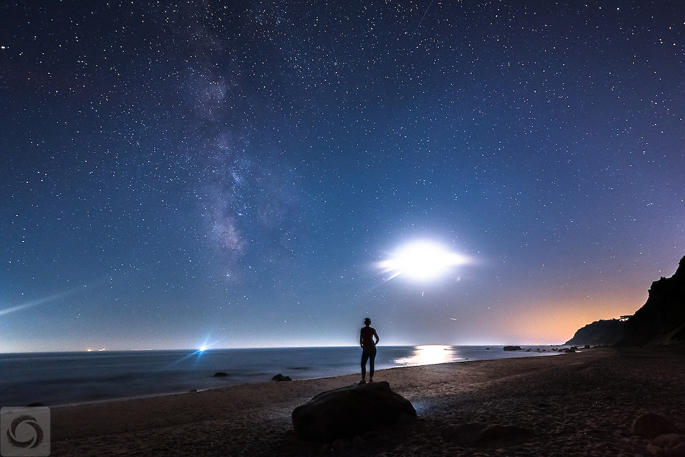 Experiencing the Milky Way on a clear night in September during the Block Island off-season, on a stretch of empty beach at the base of Mohegan Bluffs.  That crescent moon can throw a lot of light!