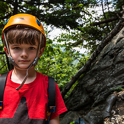 Nate Tuttle with his climbing helmet at Square Ledge in New Hampshire's White Mountains.