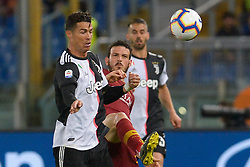 May 12, 2019 - Rome, Italy - Cristiano Ronaldo and Alessandro Florenzi during the Italian Serie A football match between A.S. Roma and Juventus at the Olympic Stadium in Rome, on may 12, 2019. (Credit Image: © Silvia Lore/NurPhoto via ZUMA Press)