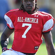 Jadeveon Clowney during the practice session at the Walt Disney Wide World of Sports Complex in preparation for the Under Armour All-America high school football game on December 3, 2011 in Lake Buena Vista, Florida. (AP Photo/Alex Menendez)