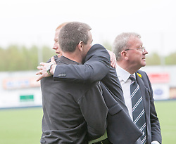 Falkirk's manager Gary Holt with Alloa Athletic's manager Barry Smith at the end.<br /> Falkirk 3 v 1 Alloa Athletic, Scottish Championship game played today at The Falkirk Stadium.<br /> © Michael Schofield.