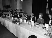 President Reagan Visits Ireland..(formal dinner)..1984.04.06.1984.06.04.1984.4th June 1984..The Banquet for President and Mrs Reagan was held in Dublin Castle,Dame St,Dublin..photo taken as the esteemed diners prepare for the first course.