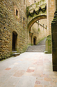 Stairs and interior walkway, Mont Saint-Michel monastery, Normandy, France