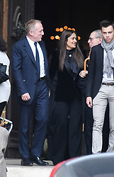 Salma Hayek, Francois-Henri Pinault leaving the funeral service for late photographer Peter Lindbergh held at Saint Sulpice church in Paris, France on September 24, 2019. Photo by ABACAPRESS.COM