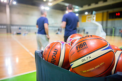 Fiba balls during Practice session of Slovenian National basketball team before FIBA Basketball World Cup China 2019 Qualifications against Belarus, on November 20, 2017 in Arena Stozice, Ljubljana, Slovenia. Photo by Vid Ponikvar / Sportida