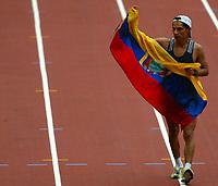 Friidrett<br /> VM 2003 Paris<br /> 23.08.2003<br /> NORWAY ONLY<br /> Foto: Digitalsport<br /> <br /> ATHLETICS - IAAF WORLD CHAMPIONSHIPS 2003 - PARIS 2003 - STADE DE FRANCE - PHOTO : ERIC LALMAND <br /> <br /> 20 KM WALK MEN - JEFFERSON PEREZ (ECU) / WINNER