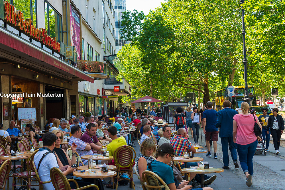 Many people sitting outside at Alt Berliner Biersalon cafe on Kurfurstendamm in Berlin, Germany